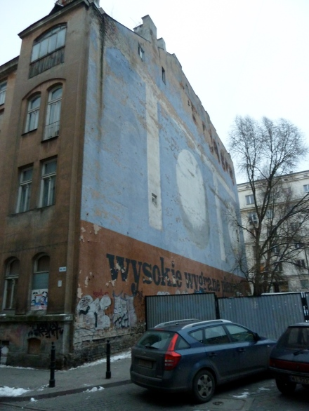 PRL-era mural on ul Widok, Warsaw, 2009