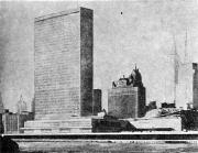 Secretariat Block of the United Nations Headquarters, New York, 1947-1953 (Source: Goldzamt, Architektura Zespołów Śródmiejskich I Problemy Dziedzictwa, Warsaw, 1956).